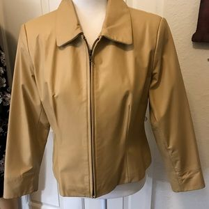 Preston & York Tan Leather Jacket ZIP Up PM EUC